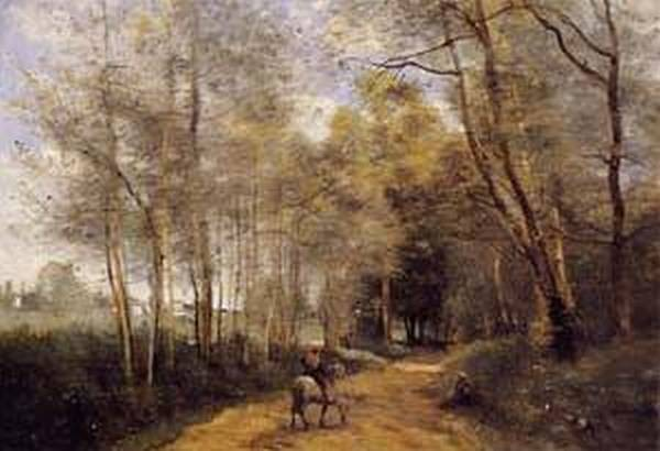 Ville dAvray Horseman at the Entrance of the Forest 1873